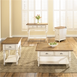 Liberty Furniture Ocean Isle 3 Piece Coffee Table Set in Bisque