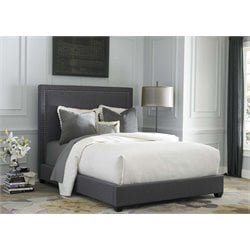 Fabric Linen Upholstered Panel Headboard in Dark Gray