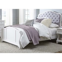 Arielle Upholstered Panel Bed in Antique White