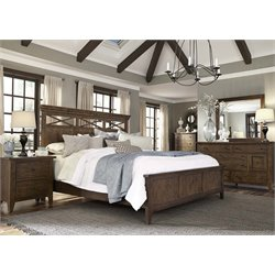 Hearthstone 5 Piece Panel Bedroom Set in Rustic Oak DMCN