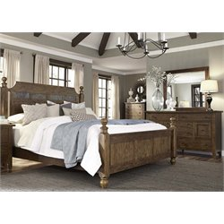 Hearthstone 4 Piece Poster Bedroom Set in Rustic Oak DMC