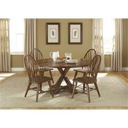 Liberty Furniture Hearthstone Drop Leaf Pedestal Dining Table in Oak