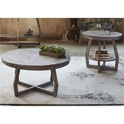 Liberty Furniture Hayden Way 3 Piece Round Coffee Table Set in Gray