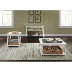 Liberty Furniture Summerhill 3 Piece Glass Top Coffee Table Set