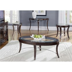 Liberty Furniture Avalon 3 Piece Glass Top Coffee Table Set in Truffle