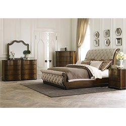 Cotswold 5 Piece Upholstered Sleigh Bedroom Set in Cinnamon DMCN