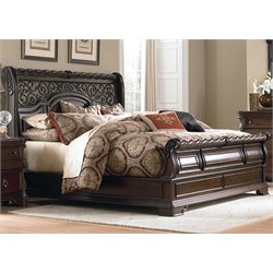 Arbor Place Sleigh Bed in Brownstone