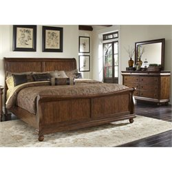 Rustic Traditions 3 Piece Sleigh Bedroom Set in Rustic Cherry DM
