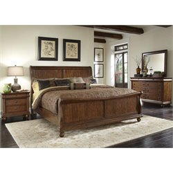 Rustic Traditions 4 Piece Sleigh Bedroom Set in Rustic Cherry DMN