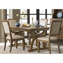 Town and Country Trestle Dining Set in Distressed Sandstone with White Powder Glaze