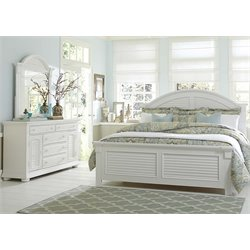 Summer House 3 Piece Panel Bedroom Set in Oyster White DM