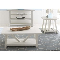 Liberty Furniture Summer House 3 Piece Coffee Table Set in White