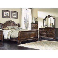 Highland Court 4 Piece Sleigh Bedroom Set in Rich Cognac DMC