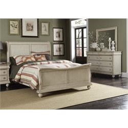 Rustic Traditions II 3 Piece Sleigh Bedroom Set in Rustic White DM