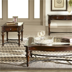 Liberty Furniture Kingston 3 Piece Coffee Table Set in Cognac