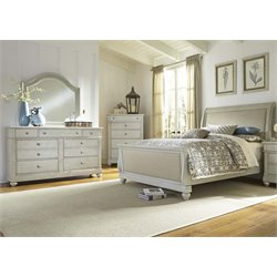 Harbor View III 4 Piece Sleigh Bedroom Set in Dove Gray DMC