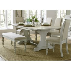 Harbor View III Trestle Dining Set in Dove Gray (B)