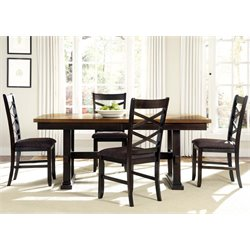 Bistro II Trestle Dining Set in Honey and Espresso