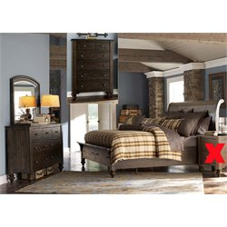 Southern Pines 4 Piece Sleigh Storage Bedroom Set in Bark DMC
