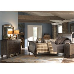 Southern Pines 4 Piece Sleigh Bedroom Set in Bark DMN