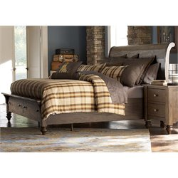 Southern Pines Sleigh Storage Bed in Bark