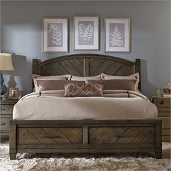 Modern Country Poster Storage Bed in Harvest Brown