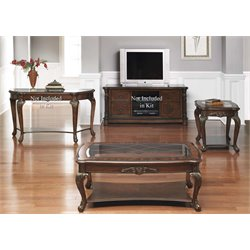 Liberty Furniture Eden Park 3 Piece Glass Top Coffee Table Set