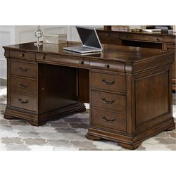 Liberty Furniture Chateau Valley Executive Desk in Brown Cherry