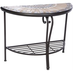 Alfresco Home Loretto Mosaic Top Patio Console Table