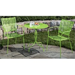 Alfresco Home Martini 3 Piece Patio Bistro Set in Key Lime Green