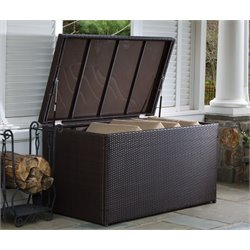 Alfresco Home Universal Wicker Patio Deck Box in Sable Brown