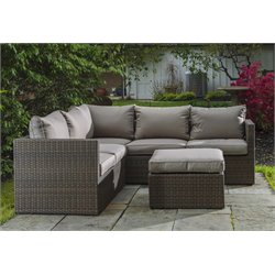 Alfresco Home La Palma Wicker Deep Seating Patio Sectional Sofa Set