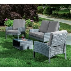 Alfresco Home Grand Cayman 4 Piece Wicker Patio Conversation Set