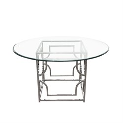Diamond Sofa Avalon Round Glass Top Dining Table in Stainless Steel