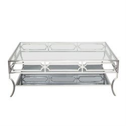 Diamond Sofa Avalon 1 Shelf Glass Top Coffee Table in Stainless Steel