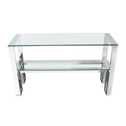 Diamond Sofa Carlsbad 1 Shelf Glass Top Console Table in Steel