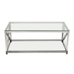 Diamond Sofa X-Factor Glass Top Coffee Table in Steel
