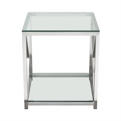 Diamond Sofa X-Factor Glass Top End Table in Stainless Steel
