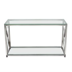 Diamond Sofa X-Factor Glass Top Console Table in Steel