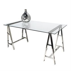 Diamond Sofa Deko Stainless Steel Glass Top Writing Desk