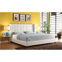 Diamond Sofa Madison Leather Low Profile Bed in White