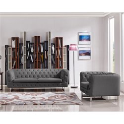 Diamond Sofa Catalina 2 Piece Tufted Sofa Set with Metal Leg