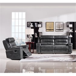 Diamond Sofa Duncan Faux Leather 2 Piece Reclining Sofa Set in Gray