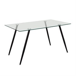 Diamond Sofa Finn Glass Top Dining Table in Black