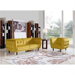 Diamond Sofa Venice Fabric 2 Piece Sofa Set in Yellow