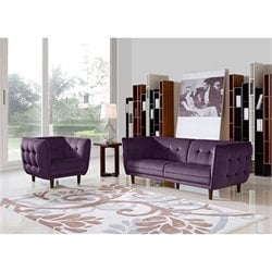 Diamond Sofa Venice Fabric 2 Piece Sofa Set in Purple