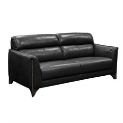 Diamond Sofa Monaco Leather Sofa in Black and Ash Trim