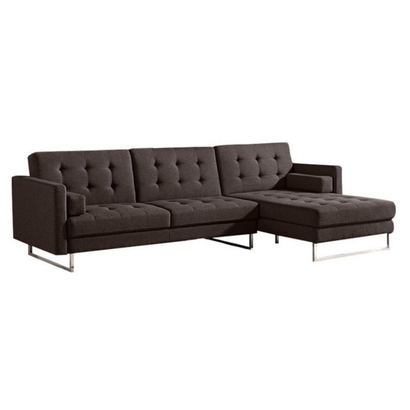 Diamond sofa opus right tufted convertible chaise for Chaise lounge convertible bed