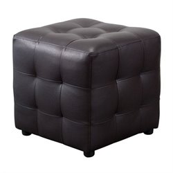 Diamond Sofa Zen Leather Tufted Cube Accent Ottoman in Mocha