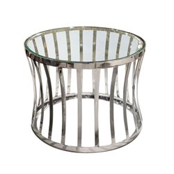 Diamond Sofa Capri Round Glass End Table in Stainless Steel